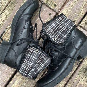 {B.O.C.} Born Black & Plaid Foldover Boots